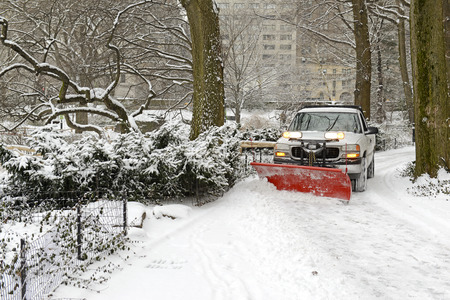 Truck Snow Plowing Driveway