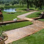 a decorative stamped concrete walkway